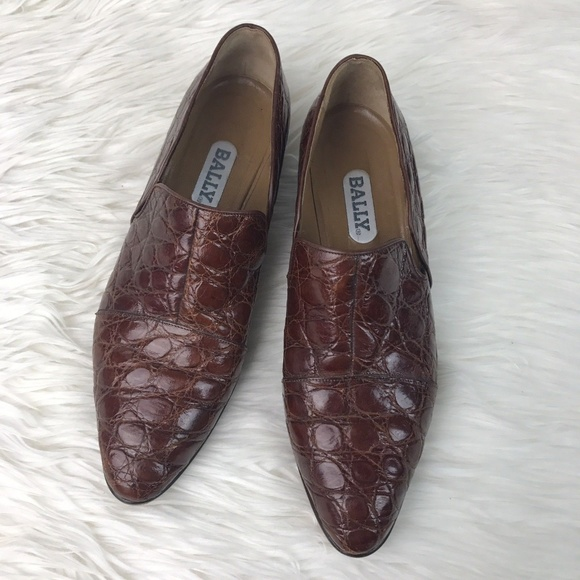 7f28a6db5e94a Vintage Bally Brown Leather Crocodile Loafers 7.5
